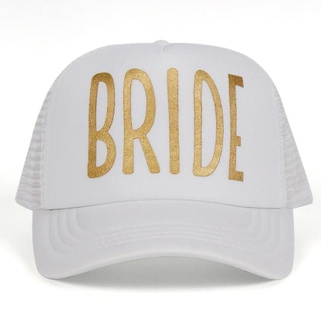 Most Popular Team Bride Baseball Cap Mesh Hat BRIDE Gold Print Woman Party Holiday Ready to Get Married Snapback Wedding Hats