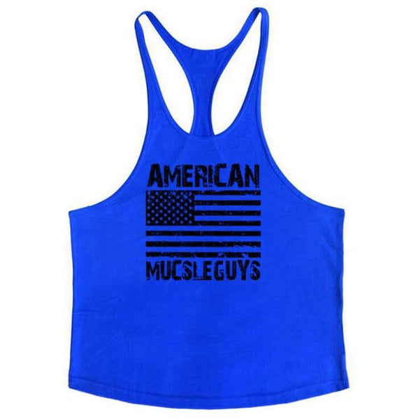 Muscleguys American Flag Gyms Clothing Mens Sleeveless Tank Tops Summer Male Fitness Vest Bodybuilding Undershirt tanktop