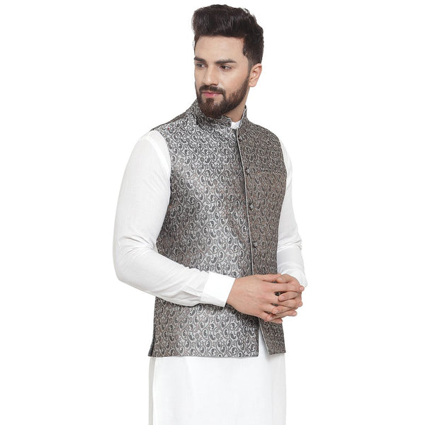 New Designer Men Black And Grey Brocade Nehru Jacket By Treemoda