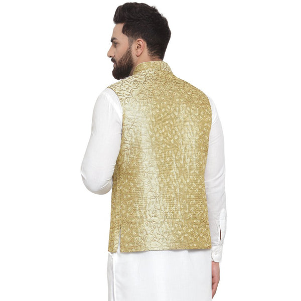 New Designer Men Green Brocade Nehru Jacket By Treemoda