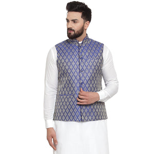 New Designer Men Blue Brocade Nehru Jacket By Treemoda