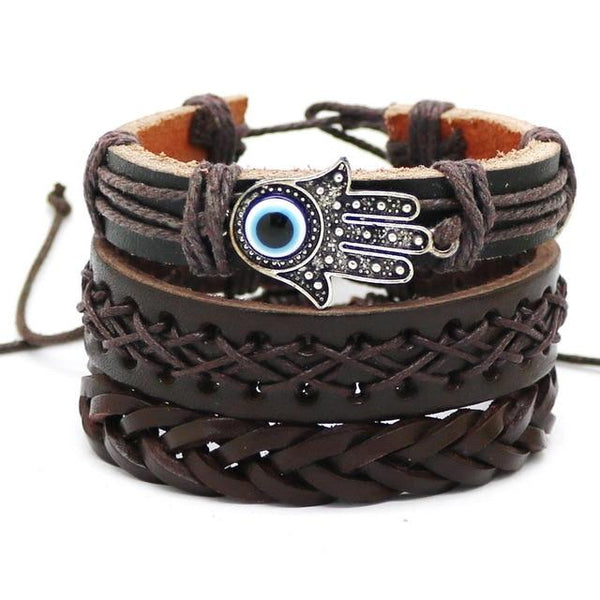 1Set Fashion Weaving Multilayer Leather Bracelet For Men's And Women's