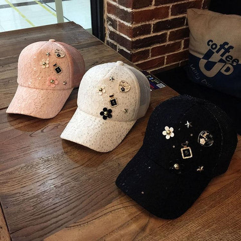 New Adult Glitter Sequins Lace Snapback Baseball Hat Women Summer Hats Amazing Diamond fashion Sun Hat