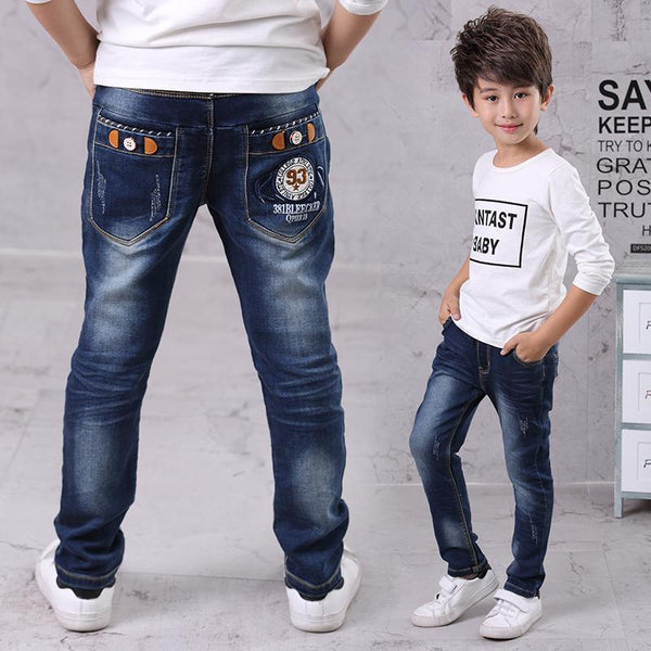 Kids Jeans Boys Casual Winter Thick Long Jeans Pants Baby Boy Jeans Cotton Warm Denim Trousers Boys Fashion Clothes
