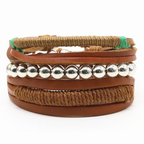 New Fashion Weave Vintage Cuff Beads Leather Bracelet Men's And Women's