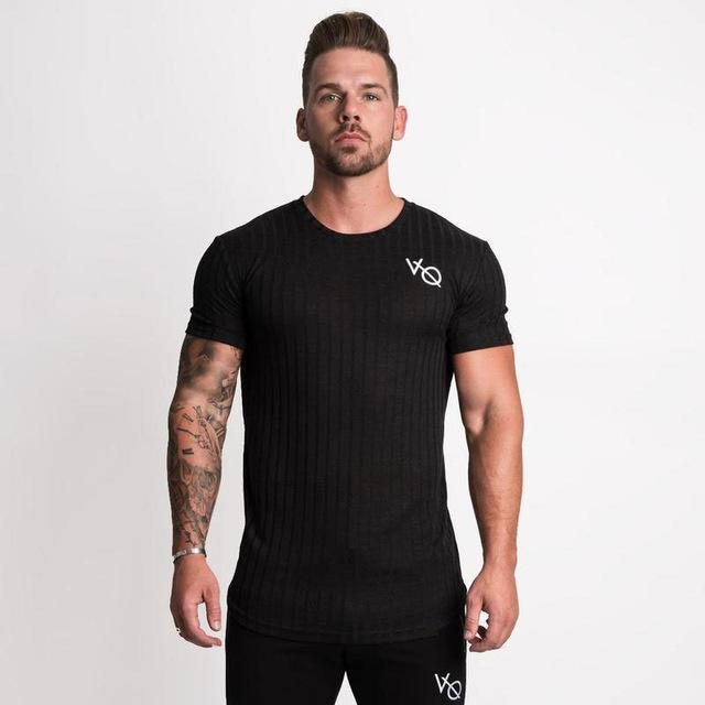 New Mens Short sleeve T-shirt Casual Fashion Skinny Tee Shirt Male Gyms Fitness Bodybuilding Joggers Black Tops Brand Clothing