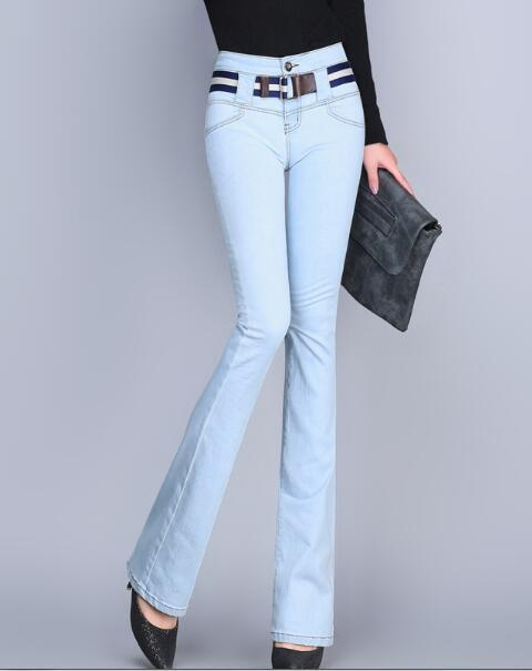 women Spring Autumn Slim Fit High Waist Flare Jeans Plus Size Stretch Skinny Jeans Pants Denim Trousers