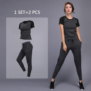 Women's sportswear Yoga Sets Jogging Clothes Gym Workout Fitness Training Yoga Sports T-Shirts+Pants Running Clothing Suit