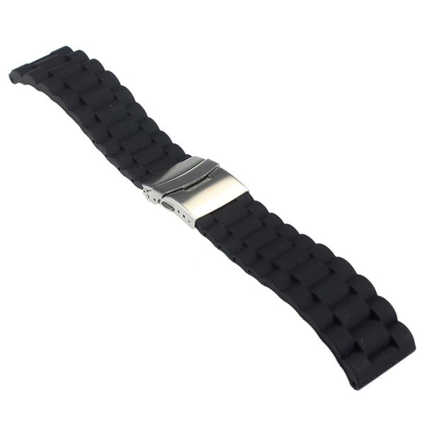 Perfect Gift Mens Silicone Rubber Watch Strap Band Waterproof with Deployment Clasp