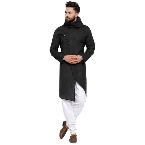 Black Kurta and Pajama for men | Designer Full Sleeve Linen Kurta and White Churidar Pajama Set For Men