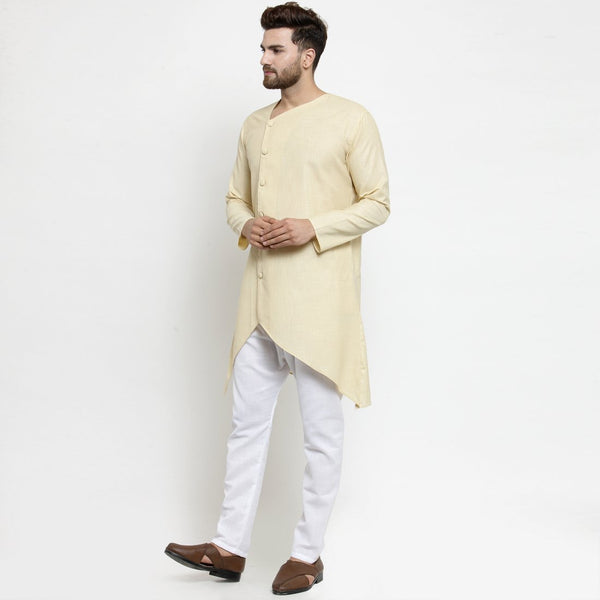 Designer Beige Linen Kurta With Aligarh Pajama For Men By Treemoda