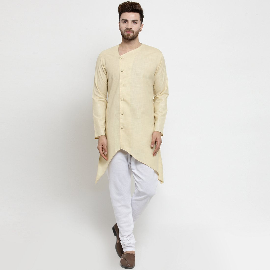 Designer Beige Linen Kurta With Chudidar Pajama For Men By Treemoda