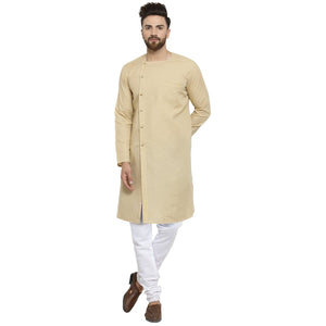 Beige Kurta and Pajama for men | Designer Full Sleeve Linen Kurta and White Churidar Pajama Set For Men