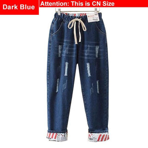 Elastic Waist Hemming Boyfriend Loose Ripped Denim Harem Jeans Light Blue  Girl'S Casual Pants For Women