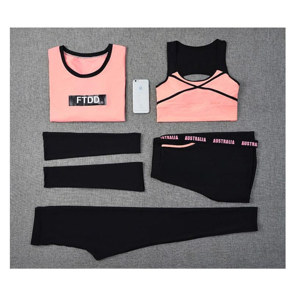 Plus Size Sportswear Women Yoga Set Jogging Suit Sleeve Bra Shirt Short Pants Fitness Breathable 5 In 1 Set Gym Clothes