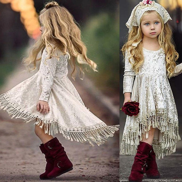 Princess Girls Fashion Tassel Dress Long Sleeve Velvet Autumn Winter Mini Dress Children Party Dress