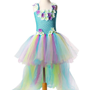Princess Long Tail Fairy Girls Tutu Dress Water Fairy Flower Kids Party Dress for Pageant Birthday Dancing Baby Peacock Dress