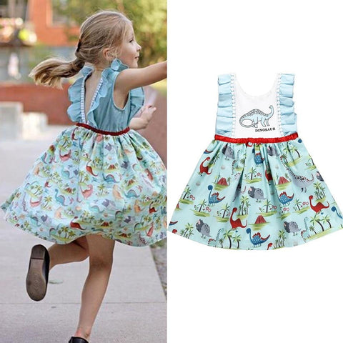 Puseky Summer Girl 12M-5Y Cartoon Cute Dinosaur Animal Print Dress Summer Toddler Kids Pageant Princess Casual Beach Dress