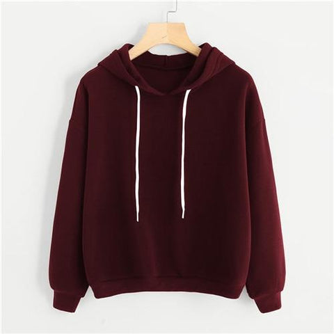 Sweatshirt Women Drop Shoulder Basic Hoodies Burgundy Plain Tops 2018