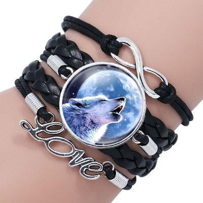Retro Style Moon Wolf Pattern Leather Bracelet For Women's