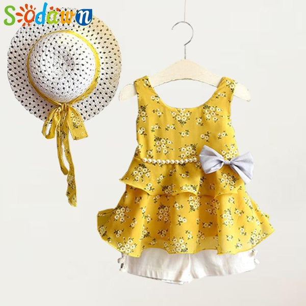 New Summer Girls Clothing Set Fashion Printing Sundress Pearl Bow Dress+Shorts+Hat Suit 3 Pcs Baby Girls Clothes