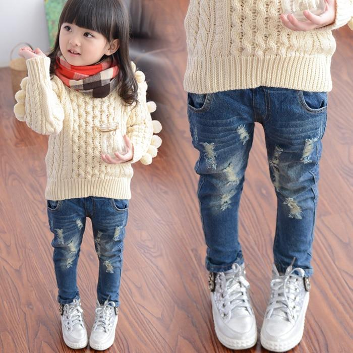 Spring Spring and Autumn New Hole Jeans Girl Children Baby Old Pants Denim Pants Tide 2-7 8 Ages  3t Jeans Girls Ripped Jeans
