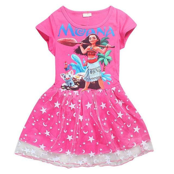 New Summer Girl Dresses For Girls Clothes Printed Baby Girl Dress Pink Princess Party Dress Children Dress Kids Clothing