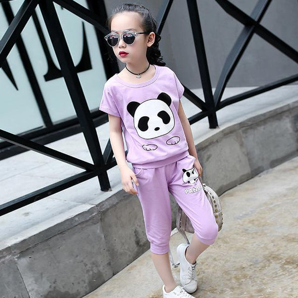 Summer Girls Clothing Set Panda Girls Clothes Set  Toddler Girl tops + Pants Girls Suit Kids Clothes Sport Suit