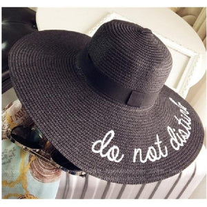 Summer Womens Wide Brim do not disturb Sun Hat Embroidery Straw Cap Floppy Foldable Roll up Cap Beach Sun Hat
