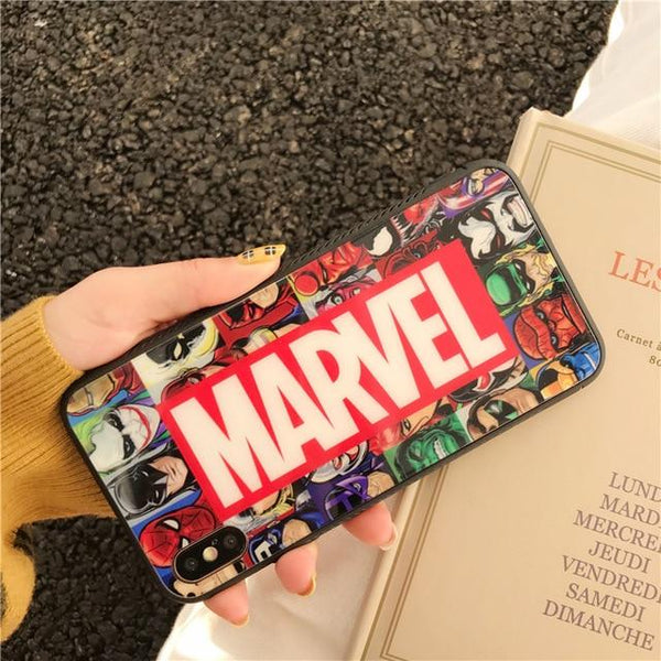 Superhero Iron Man World Comics MARVEL Glass Case For iPhone X Xs Max Xr 6 6s 7 8 Plus Mirror Cartoon Captain America Cover Capa