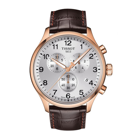 Tissot Chrono XL Chronograph Silver Dial Brown Leather Men Watch T116.617.36.037.00
