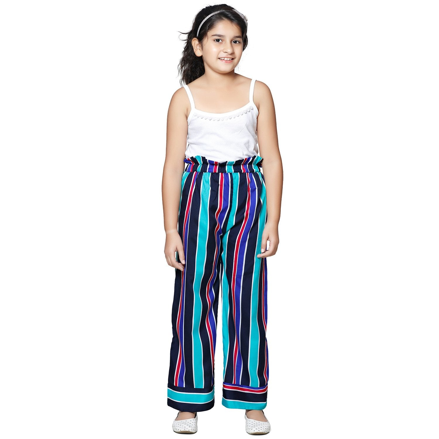 Casual Multicolor Palazzo in Polyester For Girls