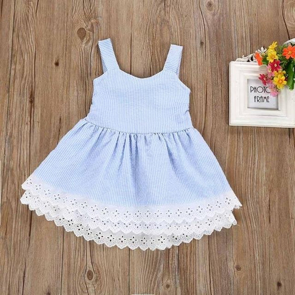 2018 girl dresses party and wedding  Kids Baby Girl Summer Clothes Stripe Lace Party Pageant Princess Dresses  M27