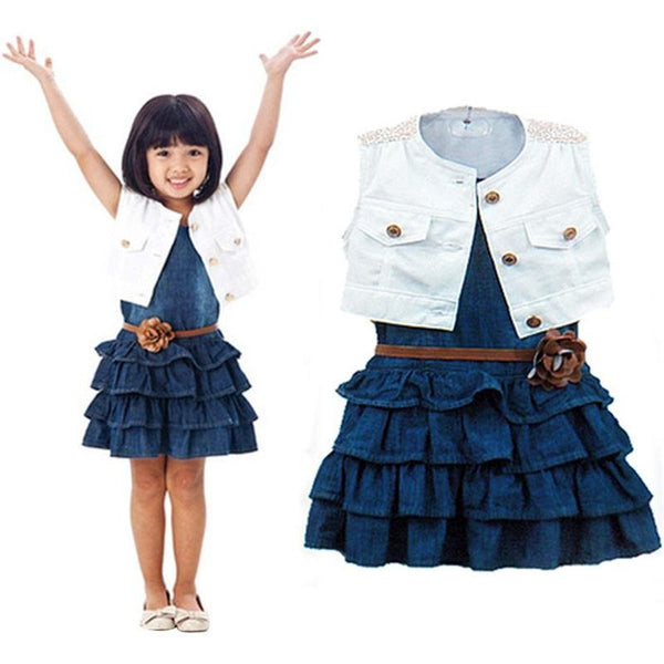 Girls Clothes Dress Hot Sale Children Girls Summer Models Girls Vest Jeans Dress + Jacket 2pc Suits Jeans