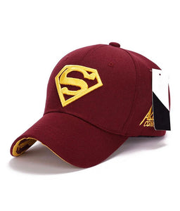 Maroon Superman Embroidered Baseball cap
