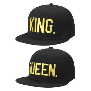King And Queen Embroidered Baseball Designer Cap For Couples