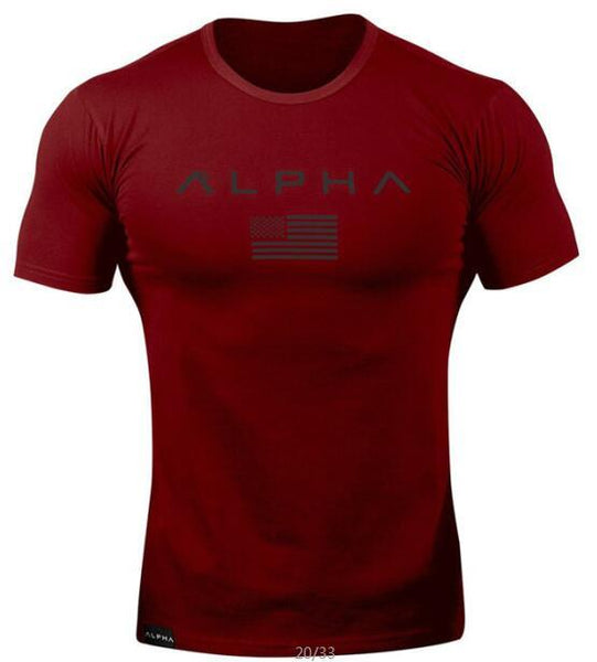 Summer short-sleeved T-shirt for men simple casual print o collar T-shirt for men gym sports T-shirt