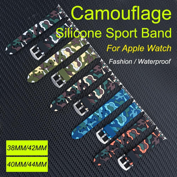 44mm Camouflage silicone Band for For apple watch 42mm 38mm Replaceable Bracelet Strap for For apple watch 40mm band