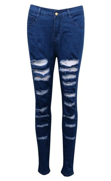 Women Denim Ripped Pants High Waist Stretch Jeans Slim Pencil Trousers