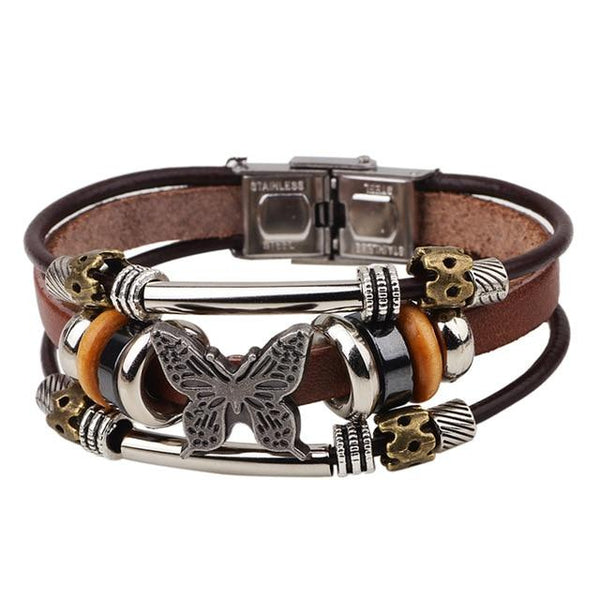 Unisex Braided Leather Bracelet Punk Jewelry Ethnic Tribal Hand-woven Butterfly Charm Bracelet Bangles Wristband