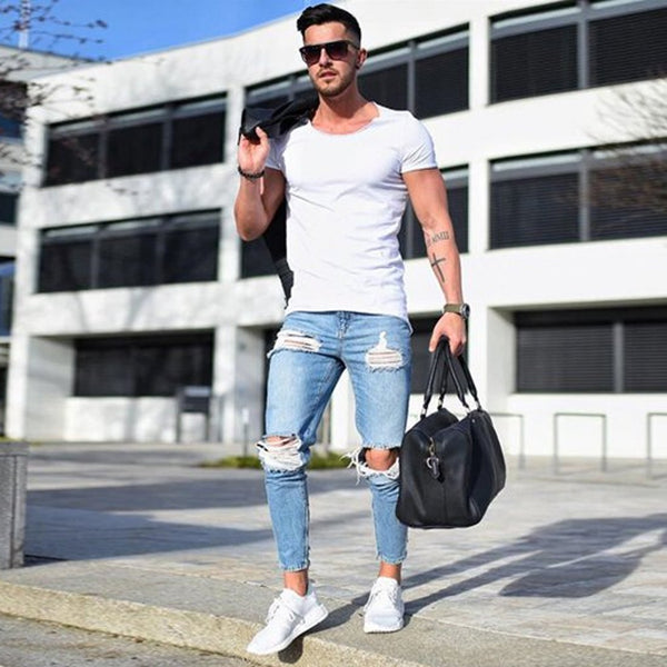 2019 Newest Arrivals Fashion Hot Men's Long Straight Leg Slim Fit Casual Hole Strech Denim Pants Skinny Jeans