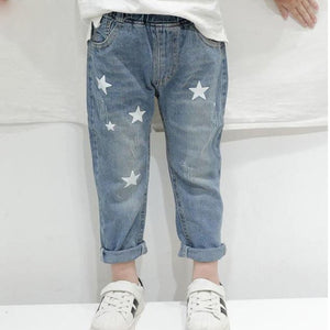Boy Jeans Autumn Print Stars Boy Clothes Denim Pants Elastic Waist Children Trousers Kids Jeans Girls