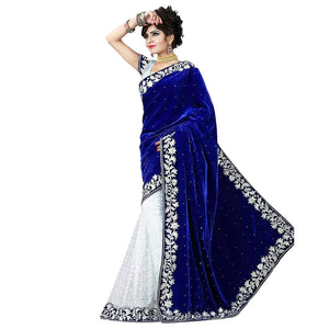 white color embroidered saree for women