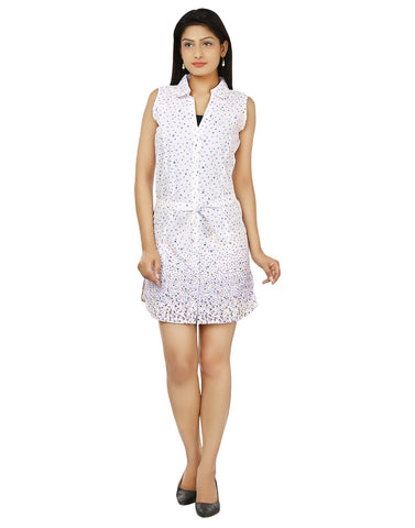 Women Casual Dress Wht-Prpl