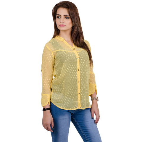 Yellow Georgette Top For Women casual top
