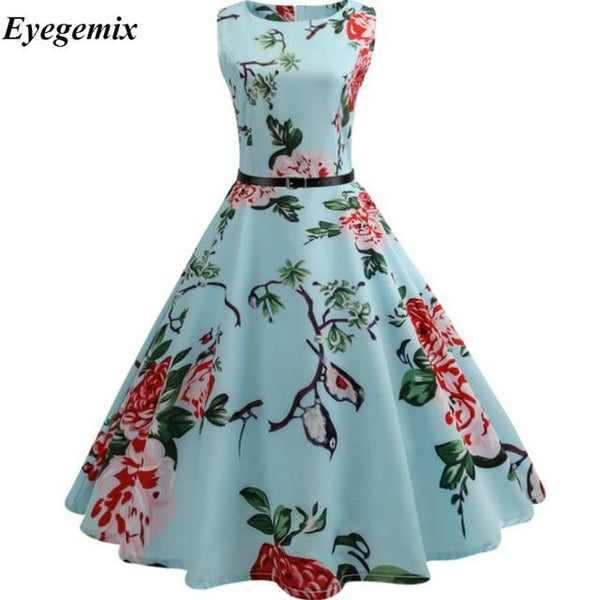 Vintage Dresses 2019 Flamingo Print Summer Dress for Women 50s 60s Floral Sleeveless Party Vestidos Mujer Large Swing Dresses