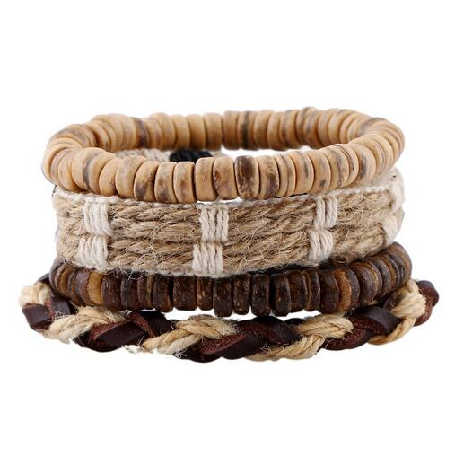 Vintage Punk Wave Multilayer Leather Bracelet Men Fashion Braided Handmade Rope Wrap Wood Beads Bracelet
