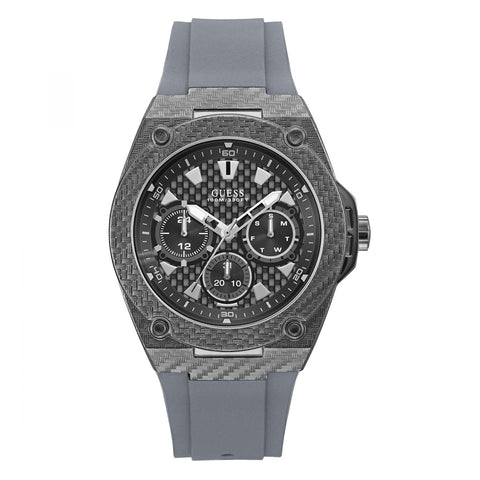 Guess Legacy Grey Dial Grey Silicone Strap Men Watch W1048G1