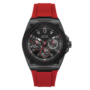 Guess Multi-function Black Dial Red Silicone Strap Men Watch W1049G6