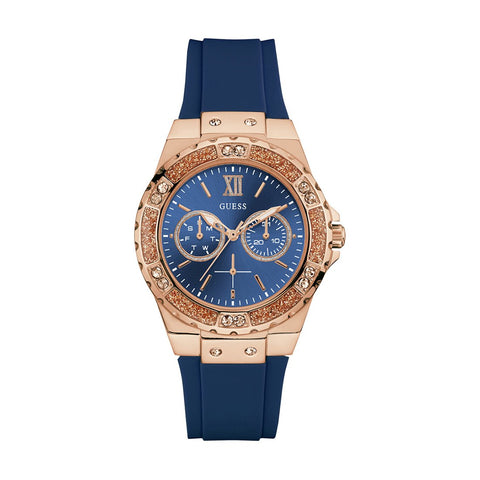 Guess Analog Blue Dial Silicone Strap Women Watch W1053L1